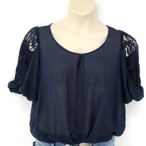 By& By Navy Blue Sheer Short Sleeve Top M